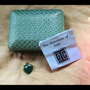 Vintage jade heart necklace charm